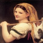 William Bouguereau (1825-1905)   Le retour du march&#233; [Returned  the market]  Oil on canvas, 1869  24 x 20 inches (61 x 51 cm)  Collection of Fred and Sherry Ross